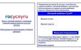 ТулГУ (Тульский государственный университет) Личный кабинет