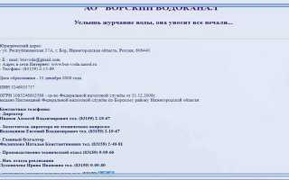 АО Борский Водоканал: личный кабинет абонента