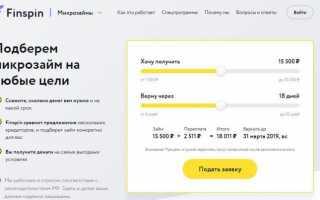 Займы Finspin (Финспин) — Вход в личный кабинет