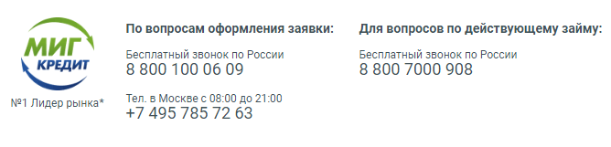 Телефон горячей линии Миг Кредит