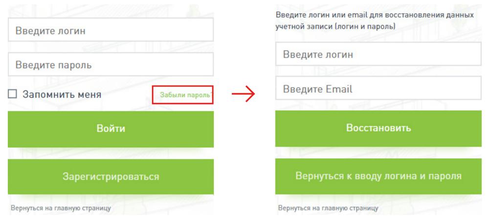 Восстановление пароля от личного кабинета Дом РФ